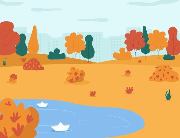 秋の公園セミフラットイラスト。子供たちが遊ぶための雨の水たまりのあるシティガーデン。木々や葉の山がある町の中心部。商業用の秋の季節の2d漫画の風景