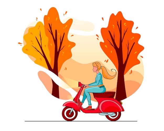 Осенние деревья парка и девушка на красном самокате. мультяшный стиль. для дизайна и декорирования.