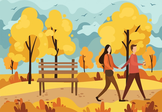Autumn park with a bench and a walking couple in love.   illustration of a cartoon autumn park.