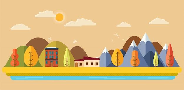 Осенний парк с видом на город, горы и деревья,