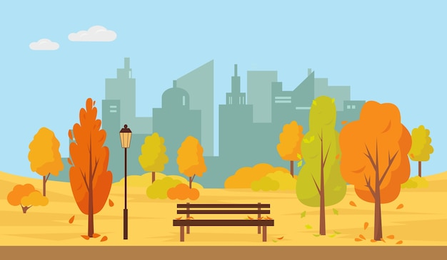 Autumn park with trees and bench in the city.