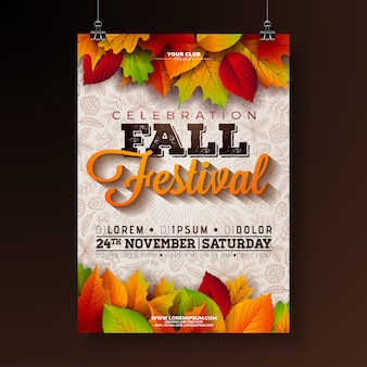 Autumn party flyer illustration with falling leaves and typography design on doodle patter
