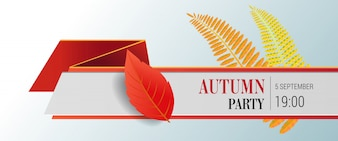 Autumn party lettering and bright leaves. Autumn offer or sale advertising