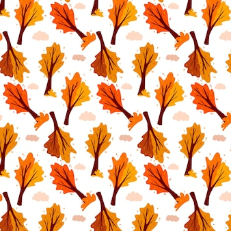 Autumn pattern. abstract autumn tree and cloud. ornamental plant. cartoon style. vector illustration for design and decoration.