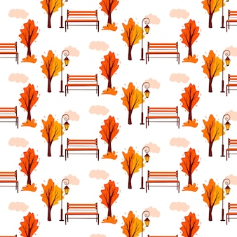 秋のパターン。秋の風景。バックグラウンド。都市公園。公園のベンチ、ランタン。漫画のスタイル。デザインと装飾のベクトルイラスト。