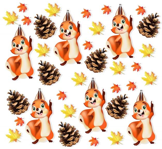 面白いリス文字の秋のパターンの背景
