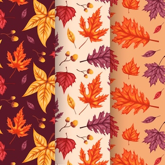 描かれた秋のパターンコレクション