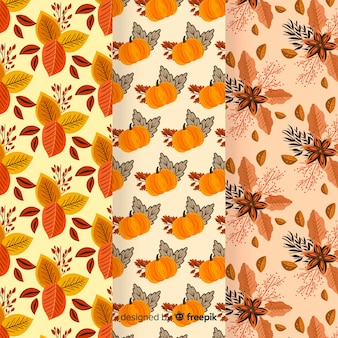 Autumn pattern collection flat design