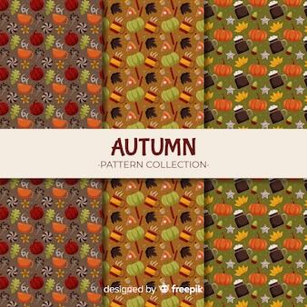 Autumn pattern collection flat style