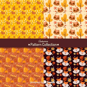 Autumn pattern collection flat style