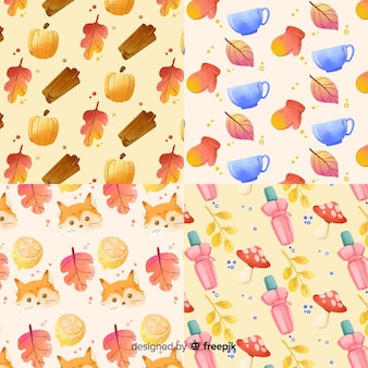 Autumn pattern collection watercolor style