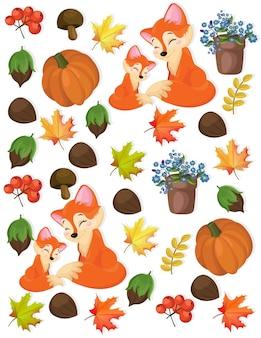 Autumn pattern fox, pumpkin and forrest nuts