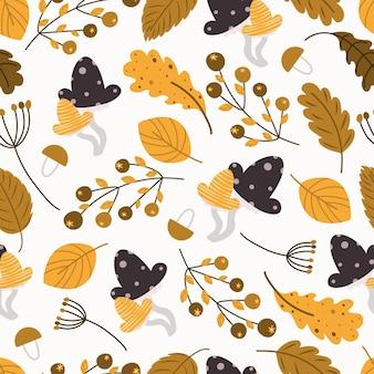 Осенний узор листопад бесшовный фон векторные иллюстрации