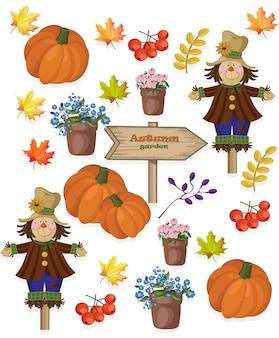 Autumn pattern pumpkin flowers