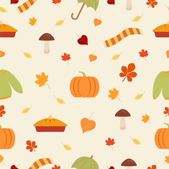Autumn pattern pumpkins cake warm sweaters and umbrellas vector graphics