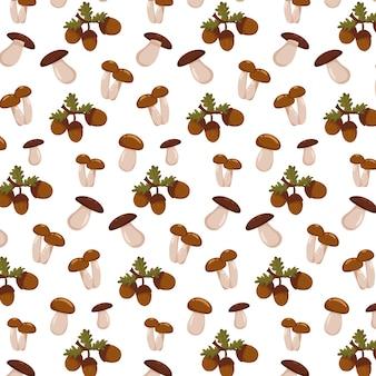 Осенний узор. бесшовный фон с элементами осени, грибами, подберезовиками, желудями. векторные иллюстрации мультяшном стиле.