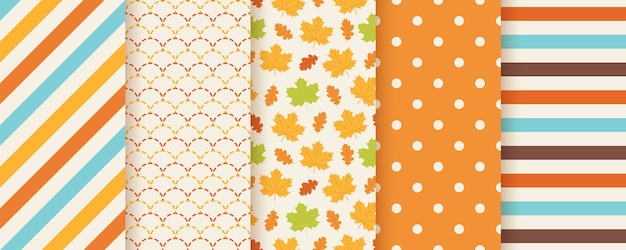 Autumn pattern. . seamless print with fall leaves, polka dot, stripes and fish scale. seasonal geometric textures. colorful cartoon illustration. cute abstract backgrounds. orange wallpaper.