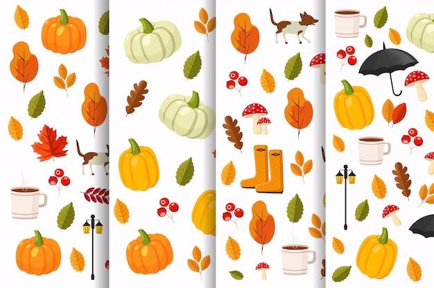 Набор осенних узоров, плоские осенние элементы, цветные листья, тыква, чайная чашка, осенние ботинки, зонт, собака, грибы и уличный фонарь