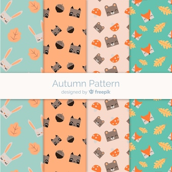 Autumn pattern set with cute animals