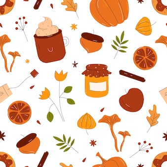 Осенний узор с осенними элементами, листьями, тыквой, чашкой, рисованной стиль