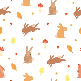 Autumn pattern with bunnies
