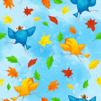 Autumn pattern with funny dancing birds and bright fallen leaves