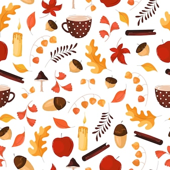 Autumn pattern with leaves, acorns in flat trending style on white background