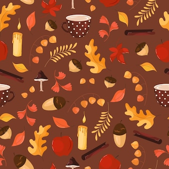 Autumn pattern with leaves, flowers, acorns in flat style