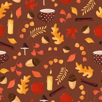 Осенний узор с листьями, цветами, желудями в плоском стиле