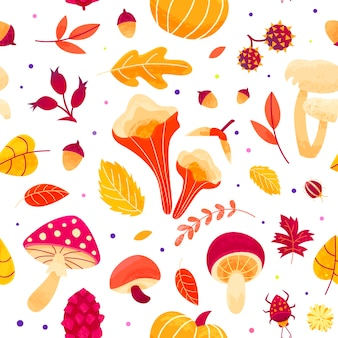Autumn pattern with leaves, mushrooms, twigs, beetles and seeds. fall season seamless  design.