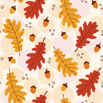 Autumn pattern with oak leaves and acorns
