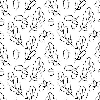 오크 잎과 도토리가 있는 가을 패턴. 식물의 검은 한다면와 완벽 한 배경