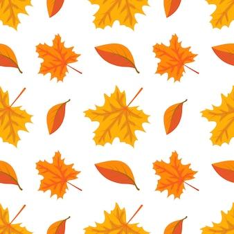 주황색 단풍이 있는 가을 패턴은 밝은 가을 인쇄를 남깁니다.