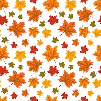 Осенний узор с оранжевыми кленовыми листьями яркий осенний принт