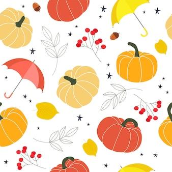 Осенний образец с тыквами, листьями и ягодами.