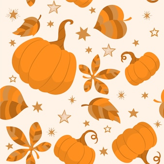 Autumn pattern with pumpkins and leaves