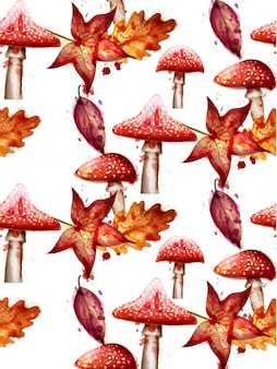 Autumn pattern with red mushrooms watercolor