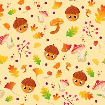 Осенний узор с улыбающимся персонажем желудя