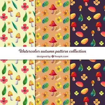 Autumn patterns collection in watercolor style