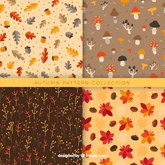 Коллекция осенних узоров с разноцветными листьями