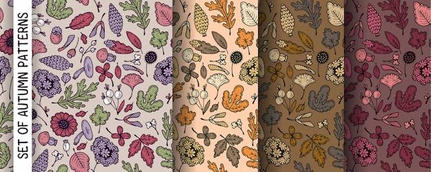 Autumn patterns, set.