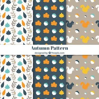 Autumn patterns with flat design