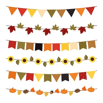 Autumn pennants decoration with leafs and sunflowers