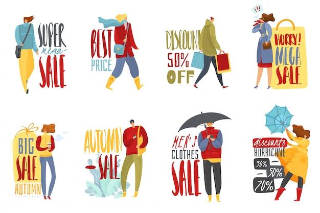 Autumn people emblems