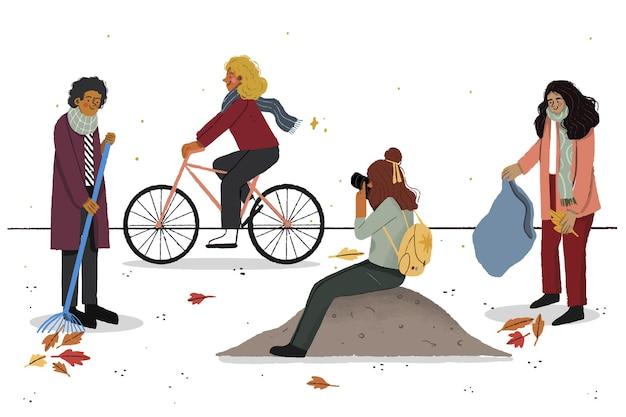 가을 사람들의 취미 일러스트