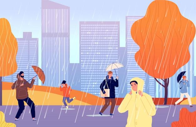 비에가 사람들입니다. 우산을 든 사람, 소녀는 비가 오는 도시 거리를 걷습니다. 남자는 비옷, 차가운 폭풍우 시즌 벡터 삽화를 입습니다. 가을 비, 우산 아래 사람들, 가을 시즌