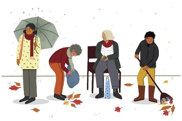 그림 외부 가을 사람들