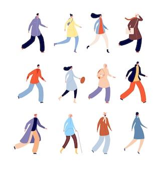 Осенние люди. человек в теплой одежде, городские персонажи мужского пола, одетые в верхнюю одежду. изолированные плоские осенние сезонные толпы, набор векторных прогулки мужчина женщина. люди в теплой осенней одежде иллюстрации