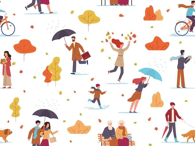 秋の人々のシームレスなパターン。男と傘を持つ子供は、公共の公園を歩き、写真を撮り、紅葉、壁紙のテクスチャ、生地、包装紙、白で隔離のベクトル図を再生します。