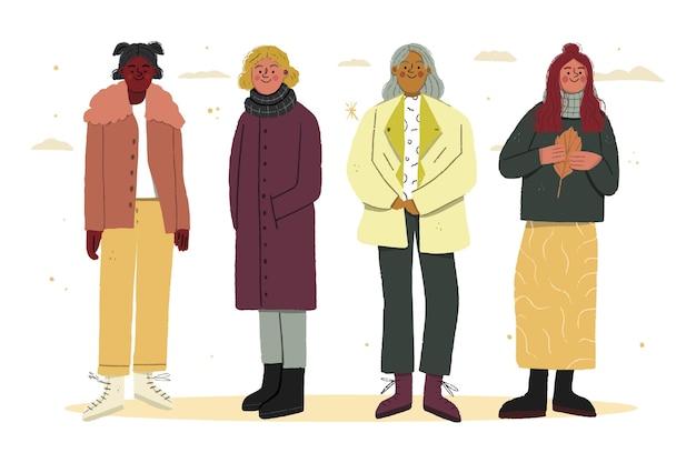 코트와 스카프를 착용하는 가을 사람들